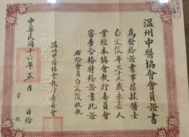 温州中医协会会员证书